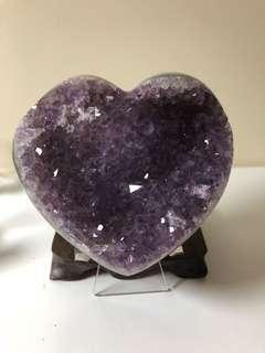 烏拉圭紫晶拋光大愛心