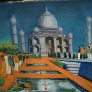 Oil Painting The Taj Mahalp