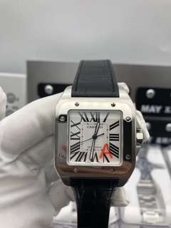 19/05/2018 【Customer's Order】✅ Cartier De Santos W20073X8 100 Men Size 38 mm Stainless Steel Best Edition New Version White Dial on Black Leather Strap A2836 ✅Swiss Grade (Top Quality)