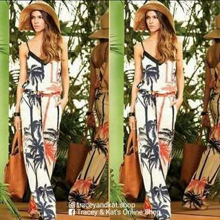 Bamboo Print Jumpsuit With Belt