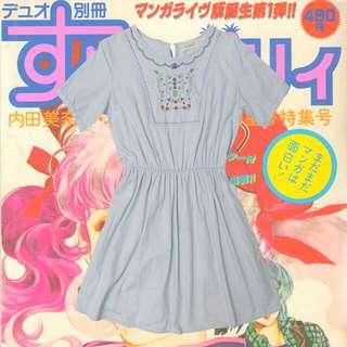 (免運)鄰家女孩刺繡藍洋裝