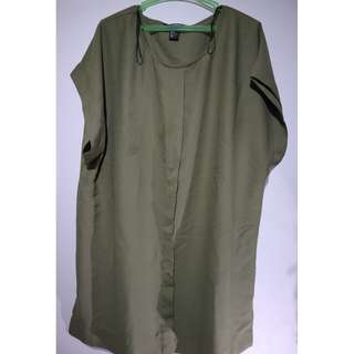 Army Green Plain Pleated Short Sleeve Blouse #9