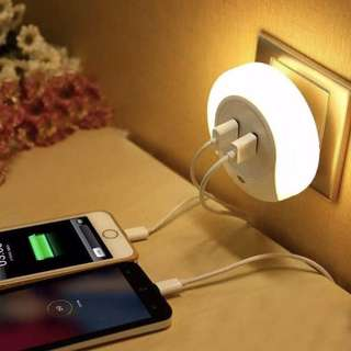 BN LED Night Light with Sensor + Dual USB Wall Charger