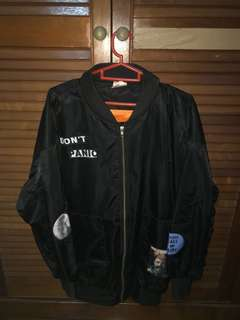 Black Overized Bomber Jacket