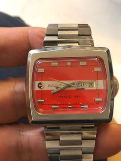 Vintage 1970 Rado NCC100 Orange Dial Auto Rectangle TV 42MM