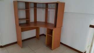 Corner unit table n shelves