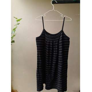 Knitted Spaghetti Navy-Striped Dress