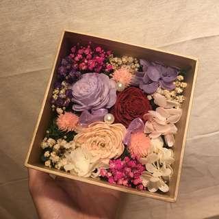 🚚 乾燥花盒-紫紅款