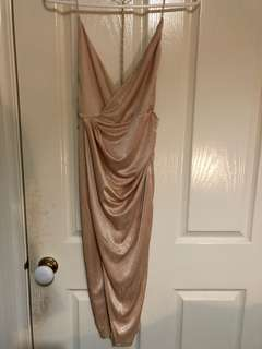 Oh Polly Nude Flash Back Satin Gathered Wrap Dress- Size 8