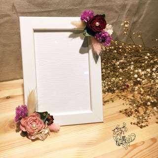 🚚 粉紅乾燥花相框