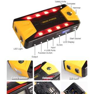 MULTI FUNCTIONAL CAR JUMP STARTER 20000MAH POWER BANK 4 USB 8 LED LIGHT