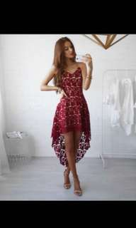 Red lace dress with waterfall skirt