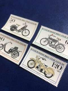 最後一套 1983 德國柏林 古老電單車 交通工具郵票 4全
