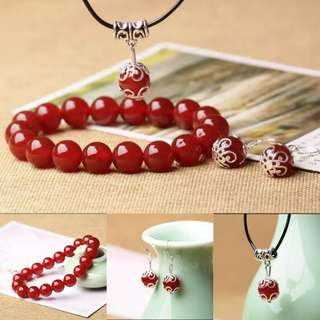🎆SPECIAL OFFER🎆 Very nice set of Red Agate/Chalcedony(红玛瑙玉髓) Bracelet, Ear ring and Pendant(手链,耳坠,吊坠) in 925 silver setting
