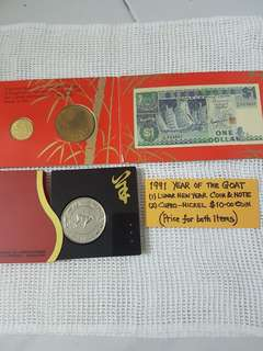 1991 YEAR OF THE GOAT.   (1)  LUNAR NEW YEAR COIN AND NOTE SET.   (2)  CUPRO-NICKEL $10 COIN.