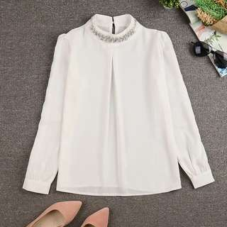 Korean Style Long Sleeve White Top