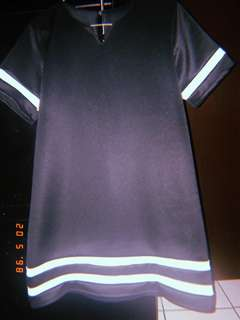 Dress Hitam Garis Putih