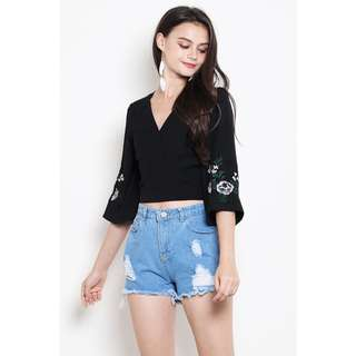 BN SSD Jenith Embroidery Top in Black