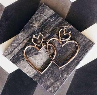 Dangle Double Heart Earrings