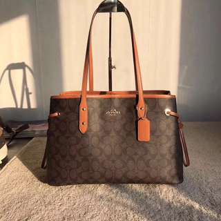 Coach Tote Bag V2 Brown with orange