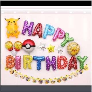 <In-stock> Happy Birthday decoration set - Pikachu