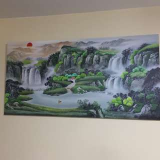 Feng shui oil painting by hand