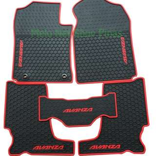Anti-Slip Premium Rubber Matting for Toyota Avanza Red Lining