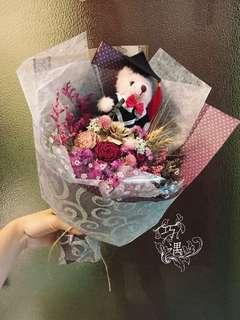🚚 乾燥花束-粉紅畢業熊款