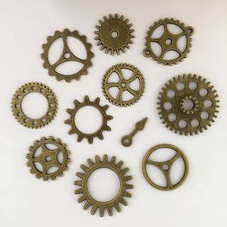 Bronze Steampunk Gear Charm Set 2