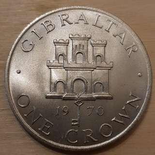 1970 Gilbratar Queen Elizabeth II Crown Coin