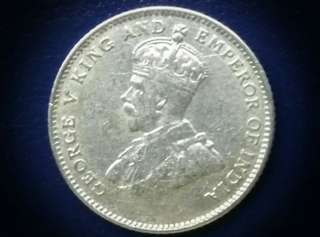 1927 Straits Settlements King George V 10 Cent Silver Coin