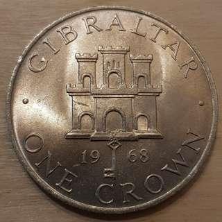 1968 Gilbratar Queen Elizabeth II Crown Coin