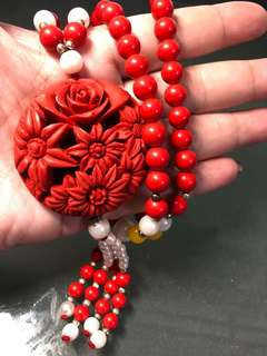 Cinnabar flower pendant necklace 朱砂花吊坠项链88g