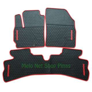 Mirage G4 and Hatchback Premium Rubber Floor Matting Red Lining