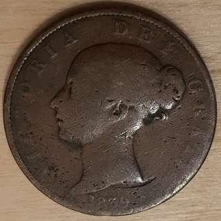 1839 Isle of Man Queen Victoria Half Penny Coin