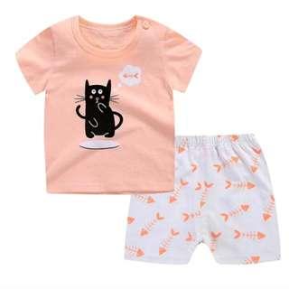 全新純棉夏季兩件式兒童套裝
