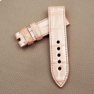 (2469) 全新24mm光面粉紅色竹節紋鱷魚皮通用錶帶 合適 Panerai, Seiko, Bell & Ross, Tudor 等等