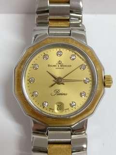 Baume & Mercier Riviera Ladies Diamonds 18K Gold/SS Gold Dial Quartz Watch TP054