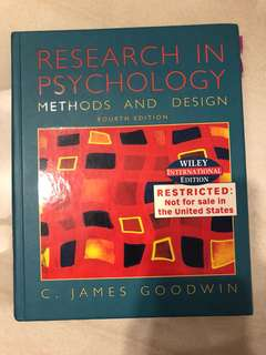 Research in Psychology : Methods and Design