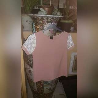 Dusty Pink Lace Sleeve Boxy Top Shirt