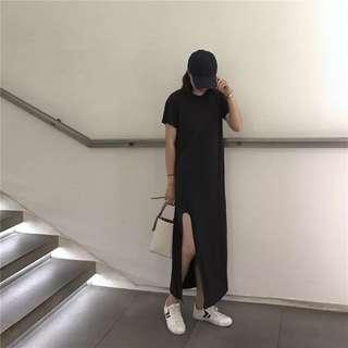Black Basic Slit Dress