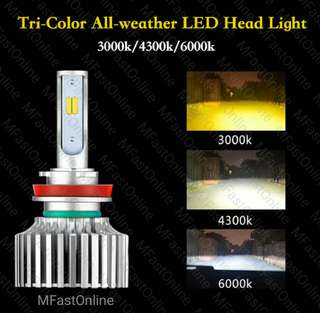LED Headlight Tri-Color Bulb H4/H7/H8/H11/9005/9006