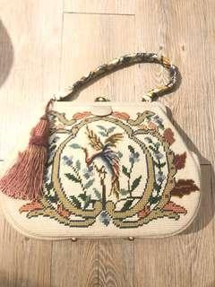 La Blanche vintage 古董 復古米白色鳳凰十字繡花大手袋