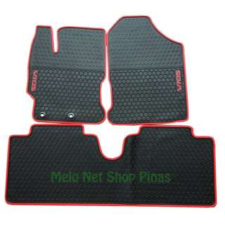 Premium Anti-Slip Rubber Floor Matting Toyota Vios 2013-2018 Red Lining