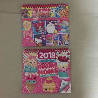 2 For $5 - BN 2018 Calendar from UK (PINK & Num Noms)