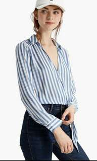 Stradivarius Crossover Shirt with Knot Top (Large)