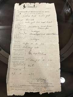 Certificate of Registration of Birth Malaya 1933