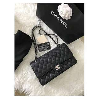 (SOLD) Chanel Classic Medium Flap Black Caviar SHW #14