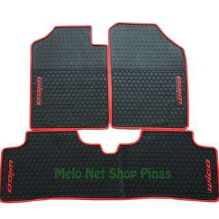 Premium Rubber Floor Matting Red Lining for Toyota Wigo