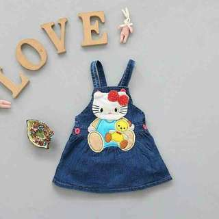 Cartoon Bow Kitten Overall Skirt For Baby Girl